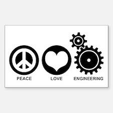 Peace Love Engineering Sticker (Rectangle)
