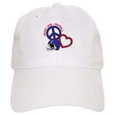 Peace, Love, Football Baseball Cap