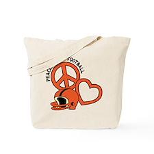 Peace, Love, Football Tote Bag (2-sided)