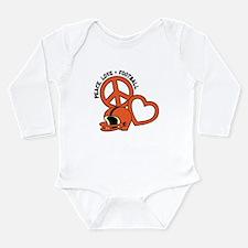 Peace, Love, Football Long Sleeve Infant Bodysuit