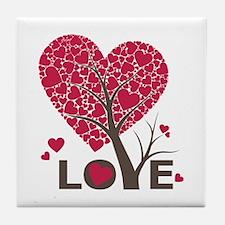 Love Grows Heart Tree Tile Coaster