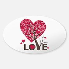 Love Grows Heart Tree Sticker (Oval)