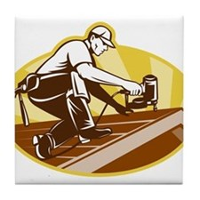 roofer roofing worker Tile Coaster