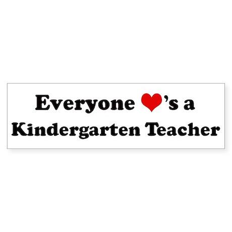 Loves a Kindergarten Teacher Bumper Sticker