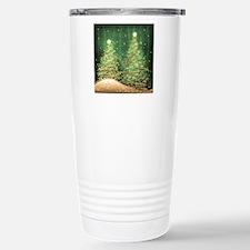 Sparkling Christmas Trees Green Travel Mug