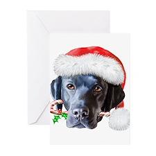 Black Lab Christmas (c) Greeting Cards (Pk of 20)