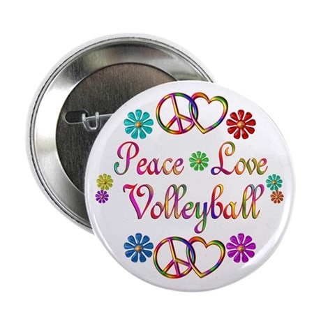 "Peace Love Volleyball 2.25"" Button"