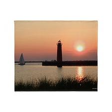 Muskegon Lighthouse 1 Throw Blanket