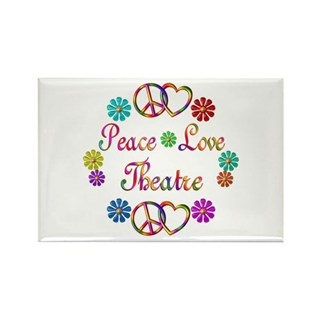 Peace Love Theatre Rectangle Magnet (10 pack)