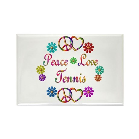 Peace Love Tennis Rectangle Magnet (100 pack)