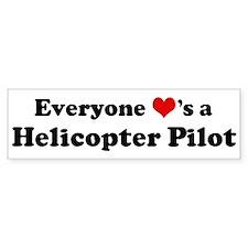 Loves a Helicopter Pilot Bumper Bumper Sticker