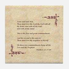 Two Commandments (Matthew 22) Tile Coaster
