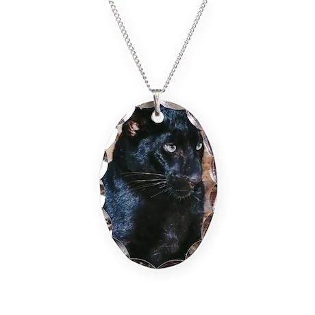Black Leopard Portrait Necklace Oval Charm
