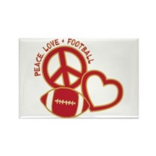 Peace, Love & Football Rectangle Magnet