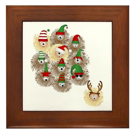 Hedgehog Holiday Framed Tile