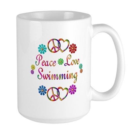 Peace Love Swimming Large Mug