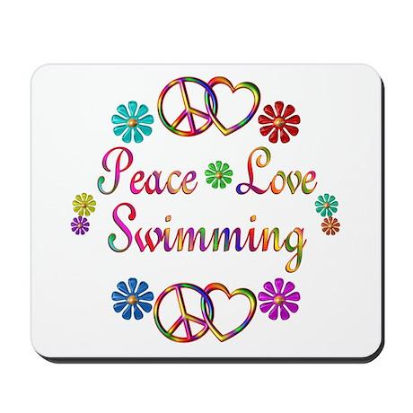 Peace Love Swimming Mousepad