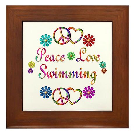 Peace Love Swimming Framed Tile