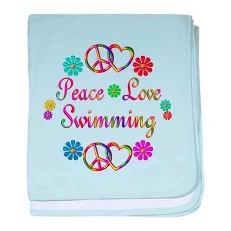 Peace Love Swimming baby blanket