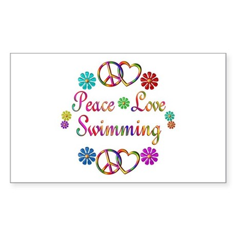 Peace Love Swimming Sticker (Rectangle)