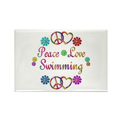 Peace Love Swimming Rectangle Magnet (100 pack)