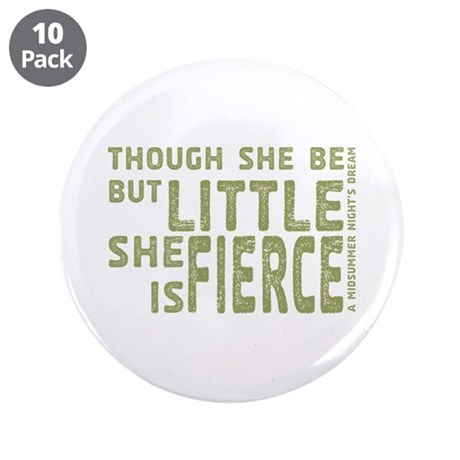 """She is Fierce - Stamped Olive 3.5"""" Button (10 pack"""