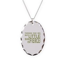 She is Fierce - Stamped Olive Necklace Oval Charm