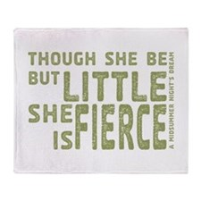 She is Fierce - Stamped Olive Throw Blanket