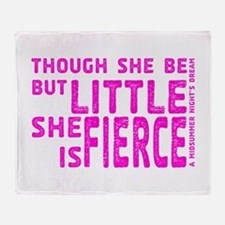 She is Fierce - Stamped Pink Throw Blanket