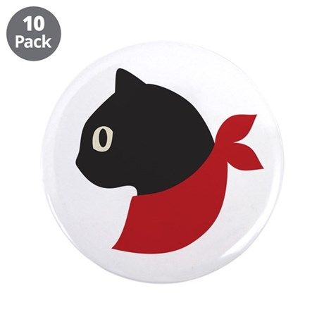 "Red Scarf Cat 3.5"" Button (10 pack)"