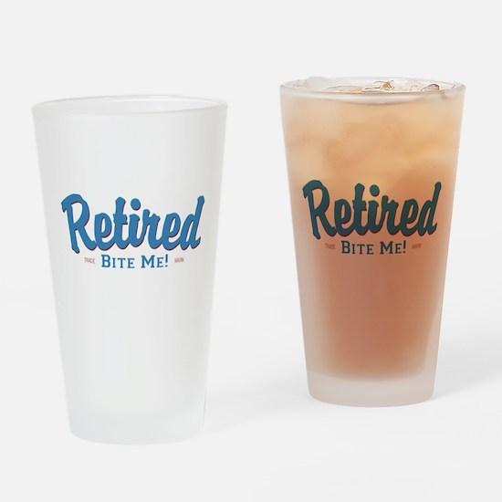 Funny Retired Bite Me Retirement Drinking Glass