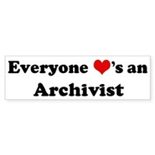 Loves a Archivist Bumper Car Sticker