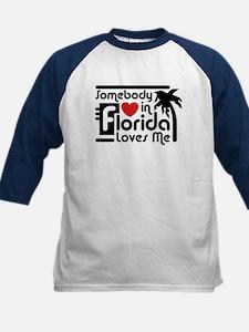 Somebody In Florida Loves Me Kids Baseball Jersey