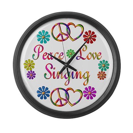 Peace Love Singing Large Wall Clock
