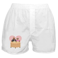 Sock Monkey Boy and Girl Love Boxer Shorts