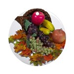 Cornucopia Abundent Fruit Ornament (Round)