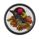 Cornucopia Abundent Fruit Large Wall Clock