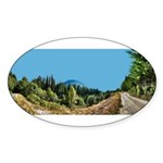 Dirt Road Mountain Path Sticker (Oval)