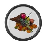 Fall Cornucopia Large Wall Clock