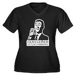 Gentlemen Women's Plus Size V-Neck Dark T-Shirt