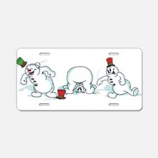 Snowball Fight Aluminum License Plate