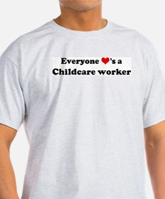 Loves a Childcare worker Ash Grey T-Shirt