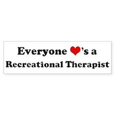 Loves a Recreational Therapis Bumper Car Sticker