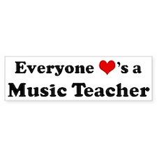 Loves a Music Teacher Bumper Bumper Sticker