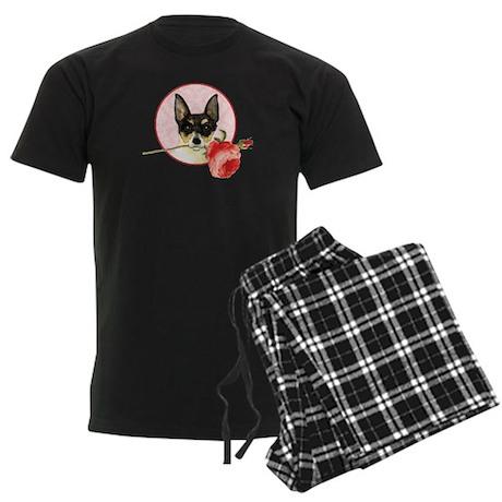 Toy Fox Terrier Rose Men's Dark Pajamas