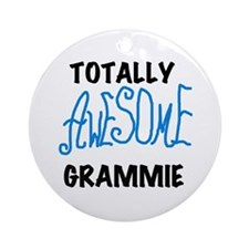 Blue Awesome Grammie Ornament (Round)