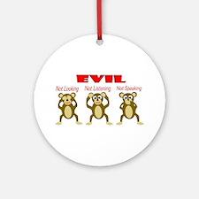 Three Wise Monkeys Ornament (Round)
