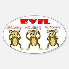 Three Wise Monkeys Sticker (Oval)