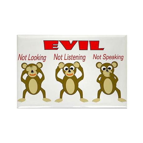 Three Wise Monkeys Rectangle Magnet