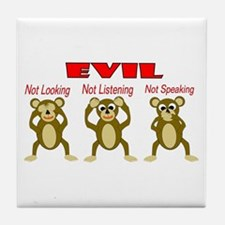 Three Wise Monkeys Tile Coaster